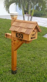 Shown here with add on's; Cedar mailbox and post with solar light, house#'s and weed guard.